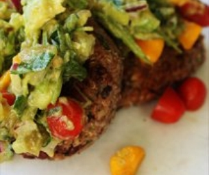 Black Bean & Quinoa Cakes with Avocado Mango salsa