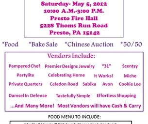 Vendor Show to Benefit Presto Fire Department