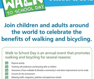 International Walk to School Day is October 3rd
