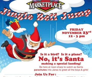 SEE SANTA PARACHUTE FROM THE SKY ON FRIDAY