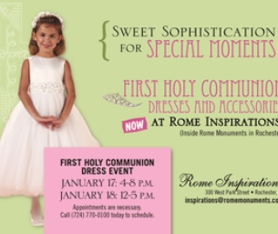 Rome Inspirations Communion Dress Trunk Show!