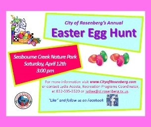 Find eggs and the Easter Bunny at Rosenberg's Easter Egg Hunt