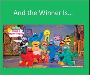 Winner of the Sesame Street Live Ticket Giveaway