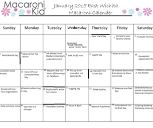 January 2015 East Wichita Macaroni Calendar