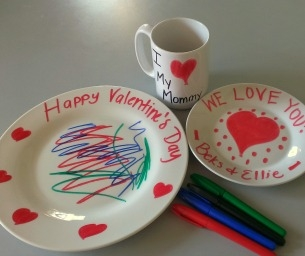 Do-It-Yourself Valentine's Mugs and Plates