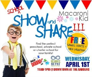 School Show and Share at Downtown at the Gardens APRIL 1, 11-1PM!