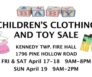 Children's Clothing &Toy Sale!  Kennedy TWP 4/17-4/19