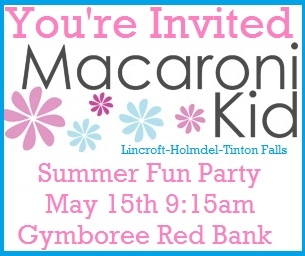 You're Invited: Macaroni Kid Summer Fun Party 5/15 Gymboree Red Bank