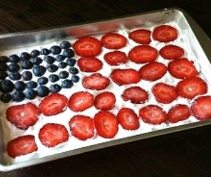 Cool Berry Flag Cake
