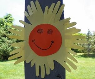Sun Handprint Craft - Macaroni Made