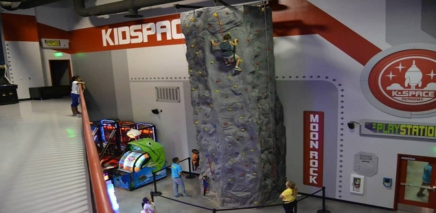 Kids love our 2-story rock climbing wall