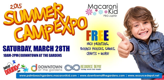 Save the Date! Summer Camp Expo -Downtown at the Gardens March 28th!