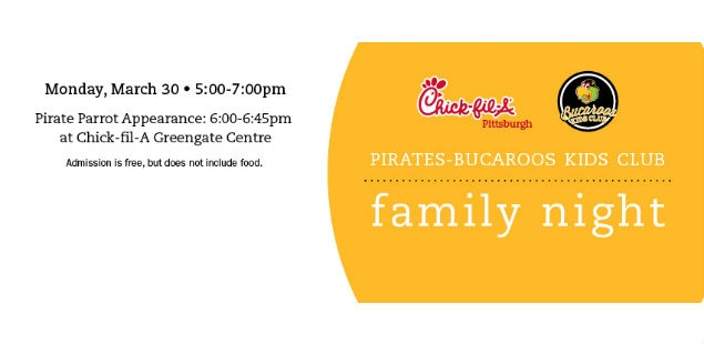 3/30 5p.m.-7p.m. Chick-fil-A Bucaroo Family Night