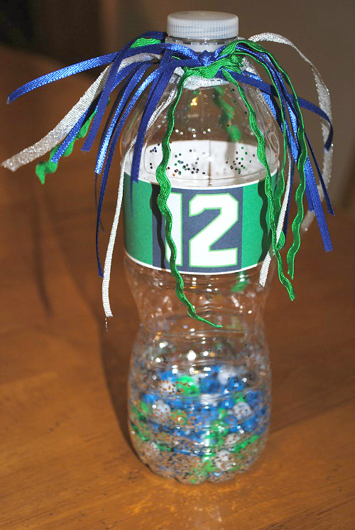 Sea seahawks noise maker craft project for kitsap 12s for Cheerleading arts and crafts